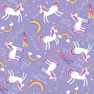 Unicorn Gift Wrap/Wrapping Paper Pack, 2 Sheets & 2 Tags