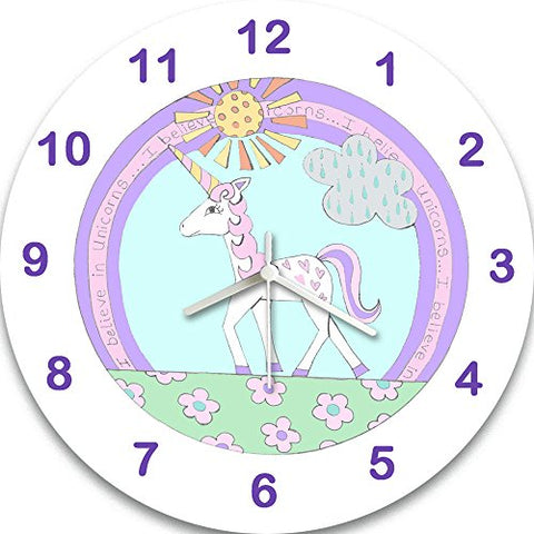 Unicorn wall clock. Nursery, kids bedroom, playroom. Unicorn, cloud, sunshine, grass, flowers. Pastel colours.
