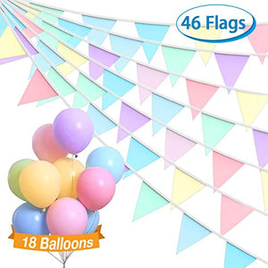 Macarons Unicorn Fabric Bunting + 18 Pastel Balloons | Unicorn Party Decorations