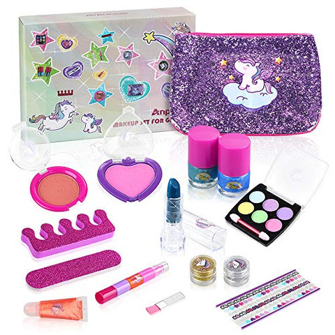 15pcs Kids Washable Unicorn Make Up Set, Kids Cosmetics Kit | Gift Idea