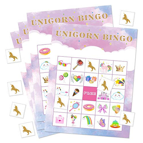 Unicorn Bingo Game | With 24 Players for Kids Birthday Party