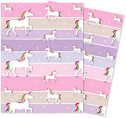 Rainbow Unicorn Gift Wrapping Paper - 2 Sheets of Giftwrap