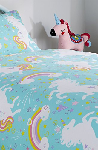Olivia Rocco Unicorn Duvet Cover Set, Cotton Blend, Duck Egg, Single