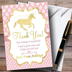 Pink & Gold Magical Unicorn Party Thank You Cards