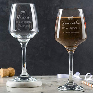 Personalised Unicorn Wine Glass Gift - Engraved With Name