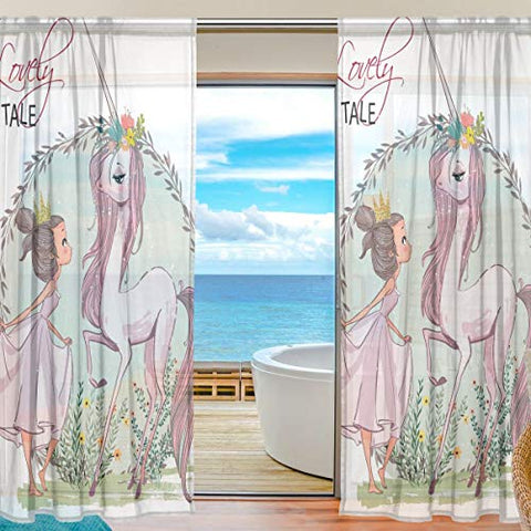 Unicorn and Girl Curtain Panels Sheer Voile