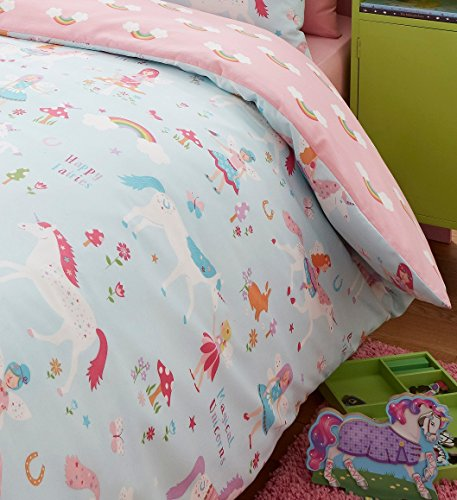 Kidz Club Magical Unicorns Childrens Single Bed Duvet Cover and Pillowcase, Blue