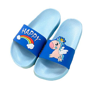 Unicorn unisex blue sliders poos shoes rainbow