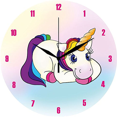 Cute multicoloured unicorn wall clock, glass. Rainbow hair. Pink numbers. Bedroom, living room, kitchen. Perfect gift, housewarming present