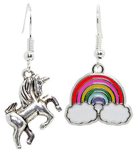 Bluebubble I BELIEVE Unicorn & Rainbow Earrings With FREE Gift Box