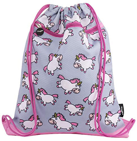 Unicorn Kids Drawstring Bag with Front Zipped Pocket | PE Kit Bag | Swimming Bag