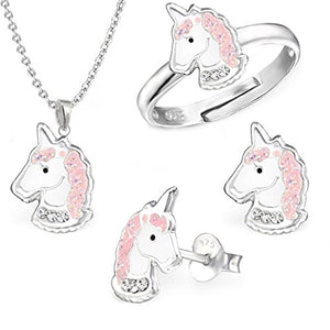 Unicorn Necklace, Ring and Earrings Gift Set