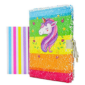 Rainbow Unicorn Notebook Diary with Lock & Key | Reversible Sequin