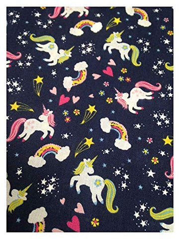 Unicorn Rainbow Love Hearts Children's Design Polycotton Fabric | Navy Blue