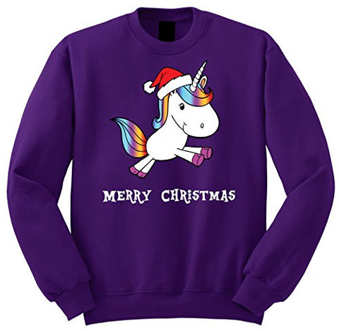 Funky Gifts Unicorn Christmas Jumper Sweatshirt | Purple