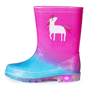 Unicorn Light-Up Rain Boots, Flashing Wellies for Girls and Boys | Assorted Sizes