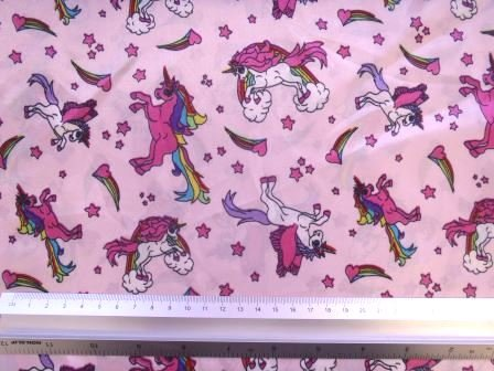 Cute Rainbow & Unicorns Printed Satin Fabric | Pink | 100% Polyester | 147cm wide.