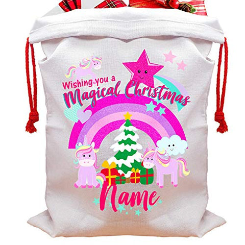 Personalised Unicorn Christmas Tree Sack | Rainbow Unicorn Xmas Present Bag