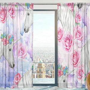 Unicorn With Flowers Sheer Curtains Panels