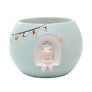 unicorn plant pot baby pastel blue