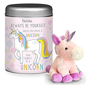 Personalised Always Be a Unicorn Teddy Plush in a Tin