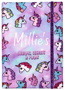 FRINGOO Personalised Unicorn Weekly Planner for Kids and Teenagers Secret Diary