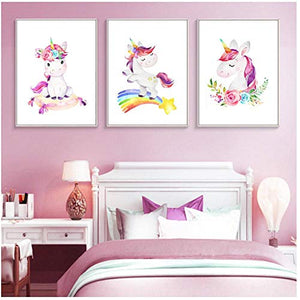 Rainbow Unicorn Nursery Wall Art Canvas Poster | 30x40cm No Frame