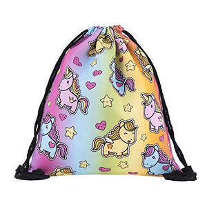 Kids Unicorn Drawstring Bag Perfect for School, PE Kit, Swimming
