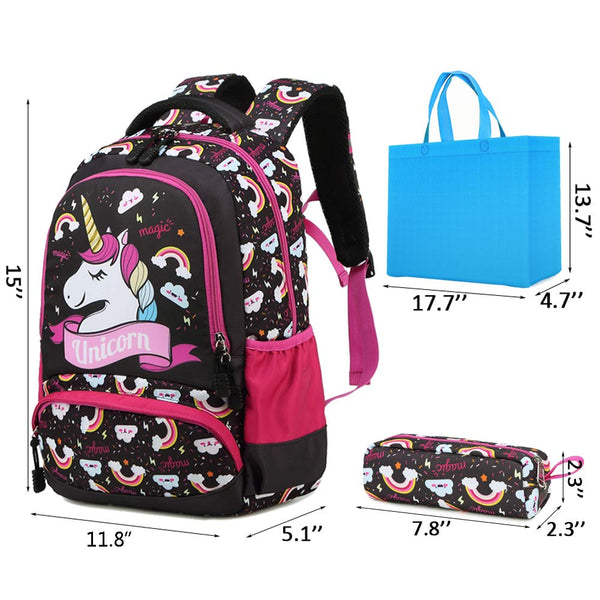 unicorn rainbow backpack / school bag with pencil case