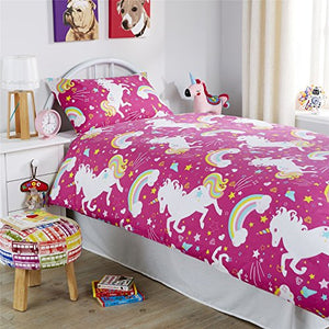 Unicorn Duvet Cover Set With Pillowcases, Pink, Single