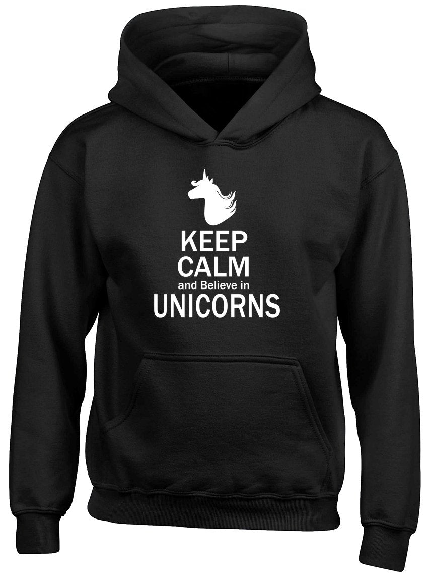 Keep Calm and Believe in Unicorns Kids Girls Hooded Top Hoodie Black Gift