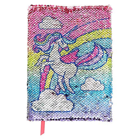 Unicorn Reversible Sequin Notebook Diary for Girls, Lined Paper, 6x8 Inches