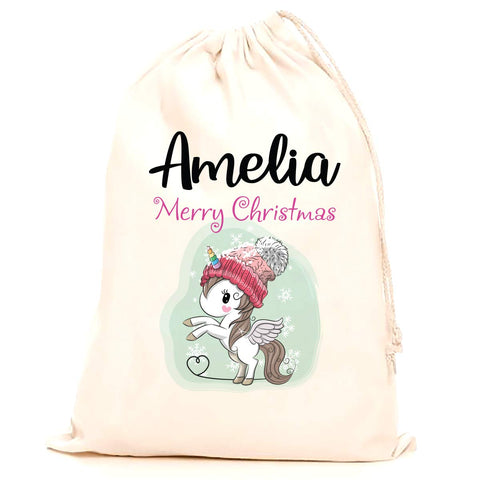 Personalised Christmas Sack - Unicorn theme
