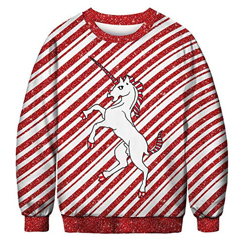 Candy Cane Unicorn Christmas Jumper | Red & White