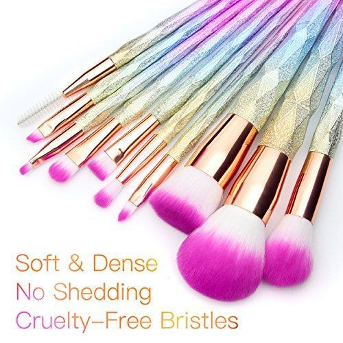 Beautiful unicorn make up brushes, rainbow hues, dip dyed pink bristles, pastel coloured hued handles. 10 pieces per set.
