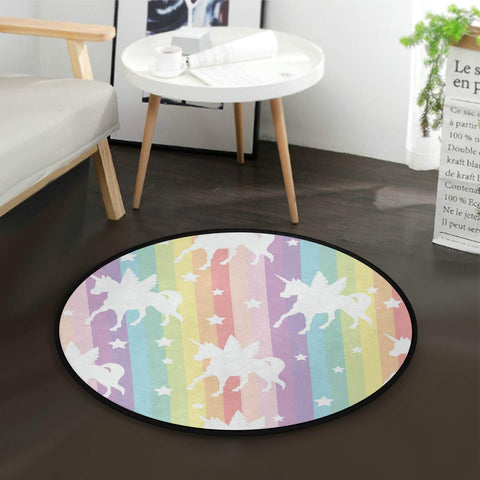Unicorn Rainbow Stars Kids Round Rug For Bedroom Playroom - Round 90cm