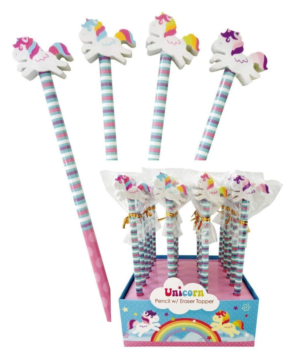 Unicorn Party Bag Fillers - Pencils with Large Eraser Topper - Pack of 8