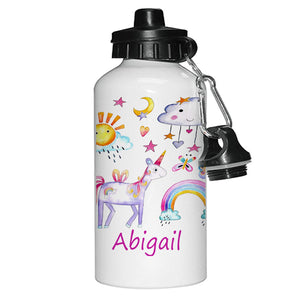Personalised Unicorn Girls Drinks Water Bottle
