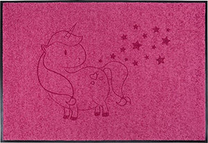Imagine greeting your guests with this fun pink unicorn doormat! Indoors and outdoors