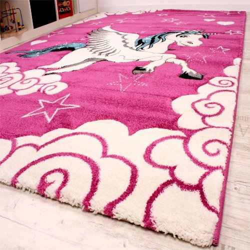 Lovely Girls Pink Unicorn Rug with Stars, Clouds. Perfect for bedroom, nursery, playroom!