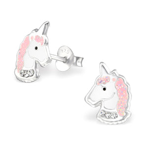 Girls Pink Unicorn Head Crystal Sterling Silver Stud Earrings