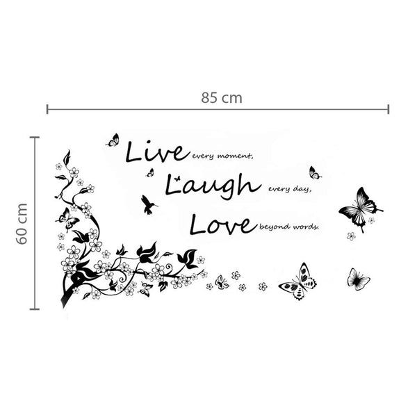 Removable Vinyl Wall Sticker Mural Decal Art - Dancing Butterflies and Tree Branch + Vivid Live Laugh Love