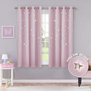PONY DANCE Pink Curtain for Girls - Bedroom Curtains with Eyelet Top for Room Darkening Short Thermal insulated Window Treatment for Energy Saving, 2 Panels, W 46 inches x 54 inches, Light Pink