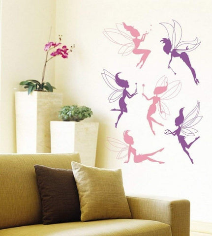 fairies wall sticker lilac and pink
