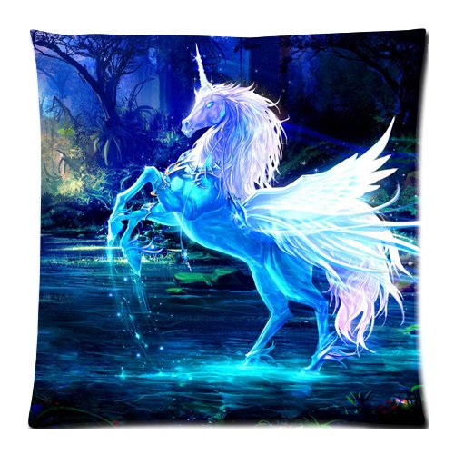 sparkling crystal unicorn Custom Zippered Cushion Covers Pillow Cases 18x18 Inch (Twin sides)