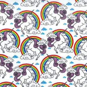 Unicorn and Rainbow | 100% Cotton Poplin Fabric | Quilting, Crafting