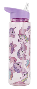 unicorn drinks water bottle - fringoo kids lilac