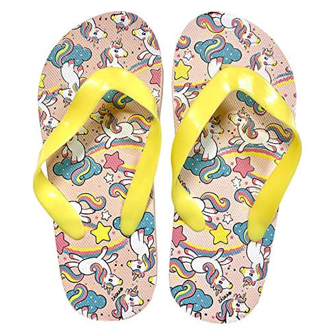 Girls Rubber Unicorn Flip Flops Yellow, Pink, Turquoise