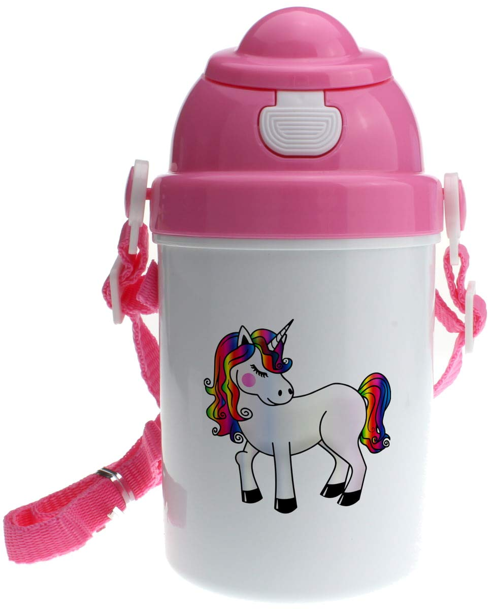 Personalised Girls Pink Unicorn Plastic Drinking Bottle With Popup Lid and Straw