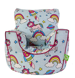 Cotton Space Unicorn Pastel Rainbow Bean Bag Gaming Arm Chair with Beans Child/Teen size By Bean Lazy